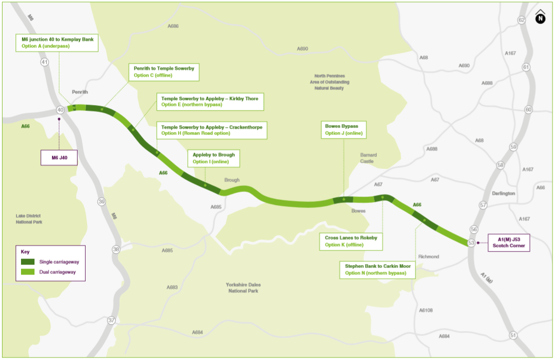 The A66 preferred route