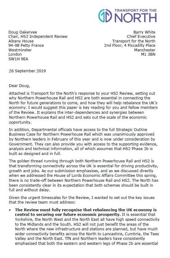 HS2 review letter 1