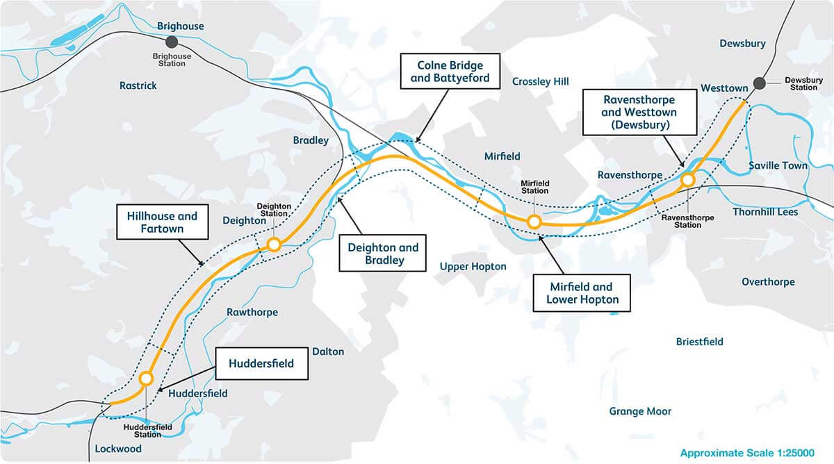 Network Rail is proposing an upgrade to a section of railway between Huddersfield and Westtown (Dewsbury)