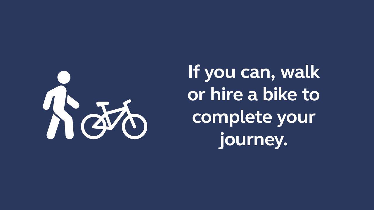 Walk or hire a bike to complete your journey