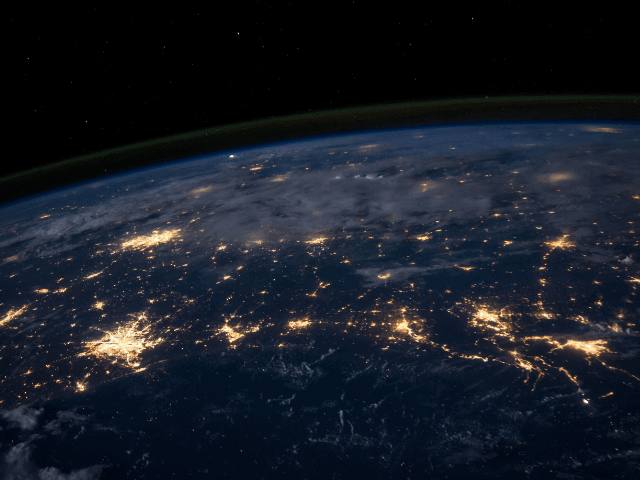 Earth from space lights on Earth at night